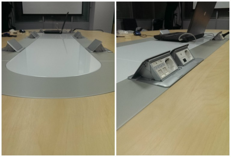 кмопьютерные и электрические розетки в столе